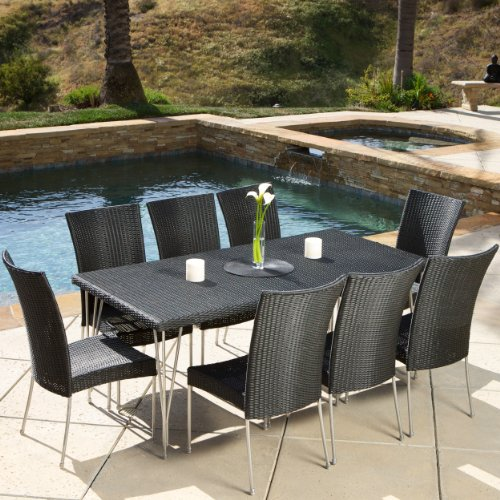 Tampa Patio Furniture ~ 9-piece Outdoor Wicker Dining Set with Stacking Outdoor Dining Chairs (Black) (Wicker Furniture Tampa)