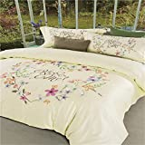 Vintage Embroidery 4 Piece Bed Sheet Set Durable Egyptian Cotton Warm Duvet Cover Flat Sheets Pillowcases Size Full Queen Top Hotel Use , queen