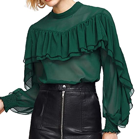 Tefamore Mujeres Camisa O-Cuello Elegante Blusa Mangas Largas Camiseta Chiffon Casual Pullover