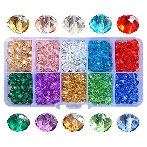 Chengmu 300pcs 8mm Briolette Glass Beads for Jewelry Making Faceted Rondelle Shape Multicolor Crystal Spacer Beads for Bracelets Necklaces with Elastic Cord Storage Box