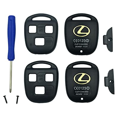 Replacement Keyless Entry Key Fob Case Fit Lexus ES GS GX IS LS LX RX SC Remote Control Key Combine 3 Buttons Replacement Car Key Shell Casing Blank Without Blade (Black pack 2): Automotive