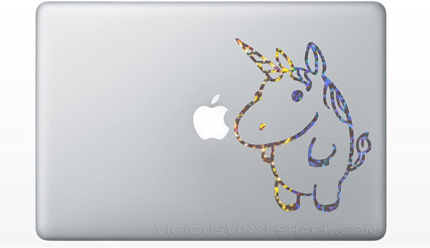 Fat Cute Unicorn (SILVER SPARKLES) Vinyl MacBook Car Laptop Decal Stickers (Multiple Colors Available) Kids Children Stuffed Animal Baby Babies Fantasy Rainbow Button Standing Pencil Box Binder Sweet Glitter