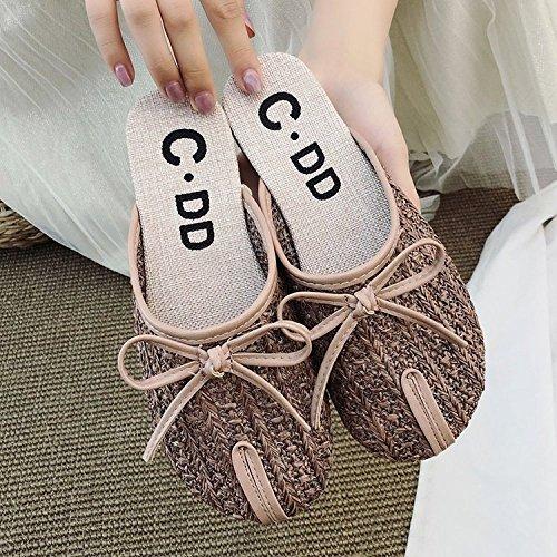 Brown Plat Nouvelles GUANG Décontractées White XING 37 Creuse Mori Chaussures Confortable Paille Pantoufles Lin Tressée 38 Tête Corde Sandales Les Girl xOAwwHdn