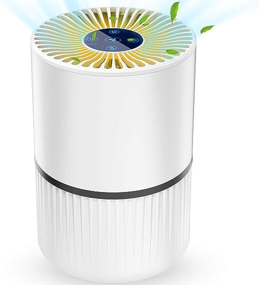 Purificador de Aire 4 en 1 para Hogar Oficina, con Filtro HEPA y Carbón Activado,Generador de Iones /Función de Aromaterapia y Temporizador Captura Alergias, Polvo, Humo, Caspa de Mascotas,Olor, PM2.5: Amazon.es: Hogar
