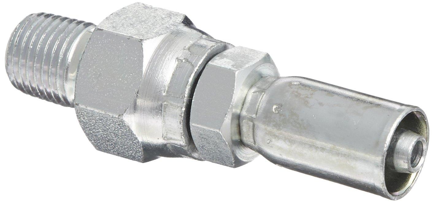 Eaton Weatherhead Coll-O-Crimp 04E-J04 Male Pipe Swivel Fitting, AISI/SAE 12L14 Carbon Steel, 1/4' Hose ID, 1/4' Pipe Size 1/4 Hose ID 1/4 Pipe Size