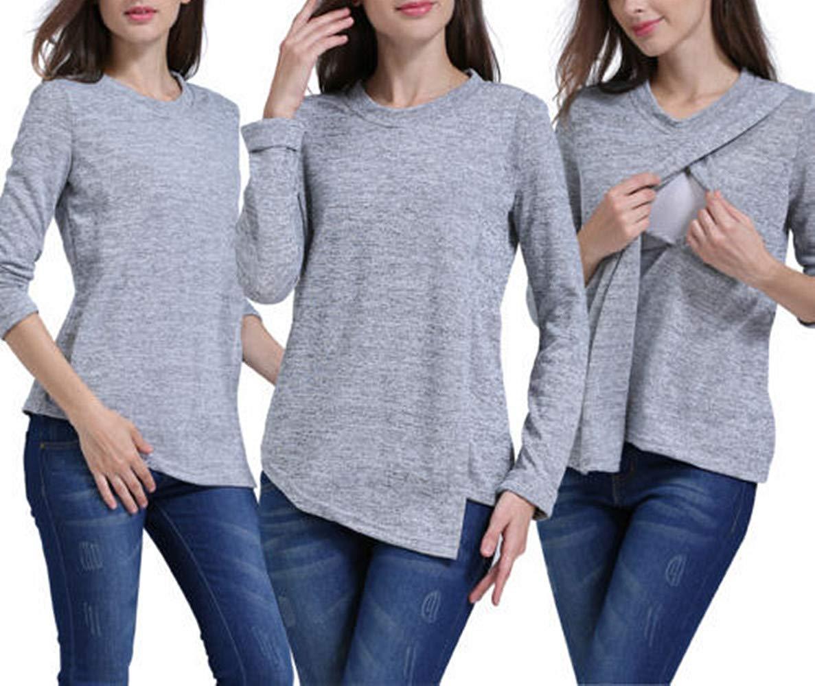 Swallowuk T-Shirt de Sport à Manches Longues pour Femme Printemps, Automne, Chemisier à Manches Longues et col en O Violet Lilas L