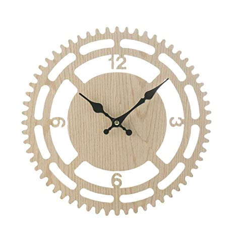 Reloj de pared vintage rústico de madera, reloj de pared antiguo Shabby Retro Home Kitchen