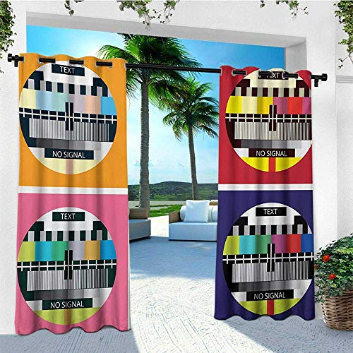 leinuoyi Modern, Outdoor Curtain Set of 2 Panels, Television Radio Channel Signal Digital Sign in Four Collage Artwork Image Print, Fabric W120 x L96 Inch Multicolor