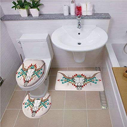 Excellent Bath Mat Set Round Shaped Toilet Mat Area Rug Toilet Lid Covers 3Pcs Western Bull Skull Illustration With Ethnic Ornament Tribal Geometric Aztec Style Gmtry Best Dining Table And Chair Ideas Images Gmtryco