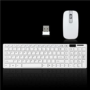 Kit de teclado y ratón Gaming inalámbrico, Woopower blanco 2.4 G óptico Teclado y Ratón