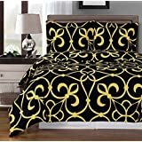 Black and Gold Victoria 8-piece King Bed-in-a-Bag including 100 % Egyptian Cotton 300 Thread Count by Royal Hotel
