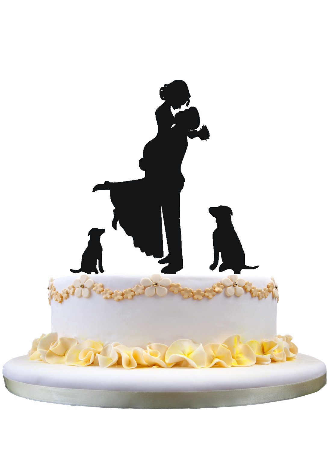 Wedding Cake Topper Bride and Groom Silhouette with 2 Dog