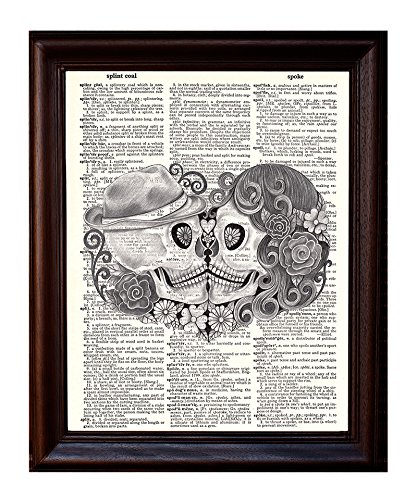 - Day of the Dead Pencil Kiss - Dictionary Art Print