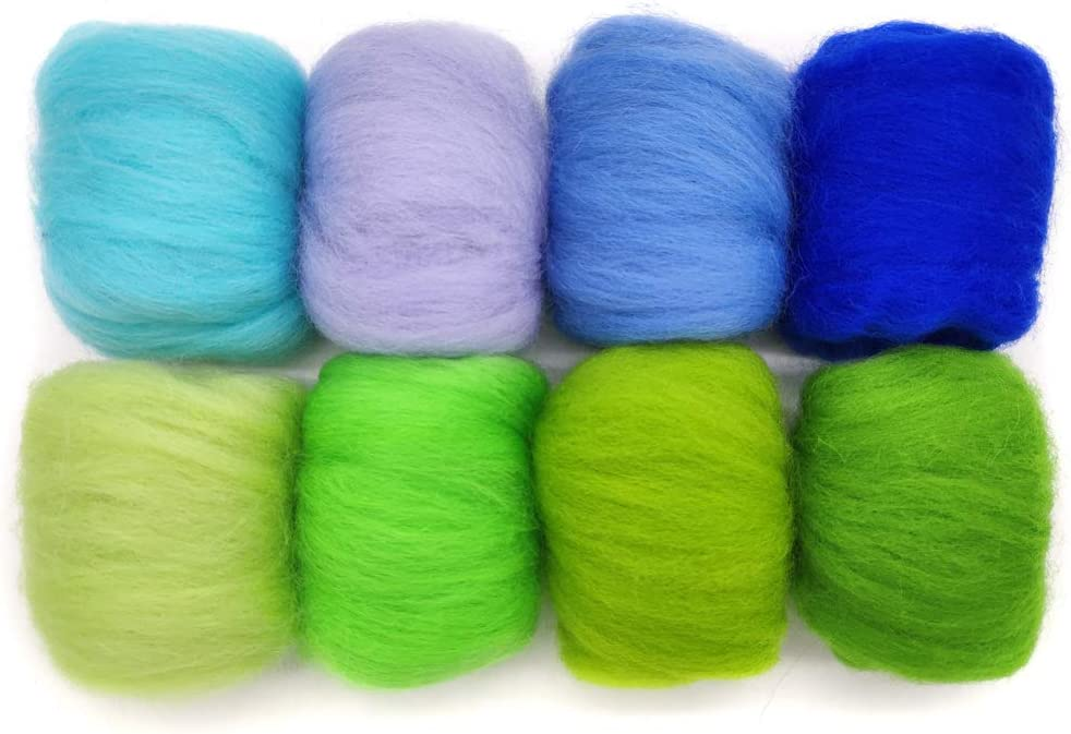 19 Microns Eco-Friendly Super Soft Natural a Artec360 8 Pack Needle Felting Wool Roving Total 2.8 OZ Merino Wool 70S