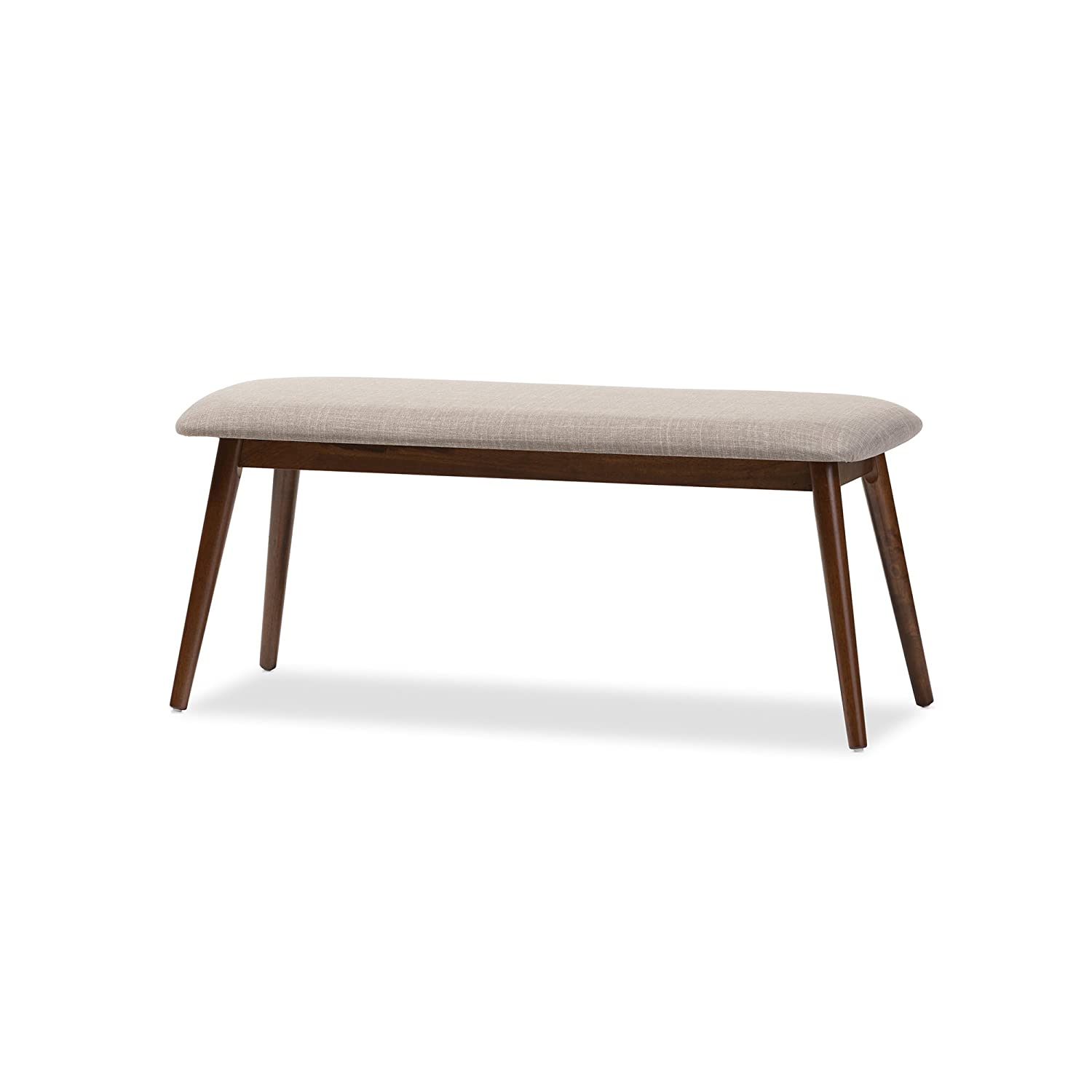 Astonishing Baxton Studio Juliette Mid Century Modern Light Grey Fabric And Oak Medium Brown Finishing Wood Dining Bench Gmtry Best Dining Table And Chair Ideas Images Gmtryco
