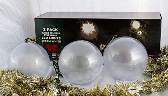 amazoncom stay off the roof christmas star jumbo sphere led lights set 10 ft lighted length connect up to 90 sets warm white indooroutdoor use