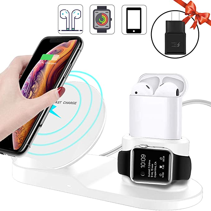 3 in 1 Wireless Charger,10W Qi Fast Wireless Charger Stand for iPhone Xs  Max/XR/Samsung S10 S9+,Wireless Charging Dock Holder Station for Apple  iWatch