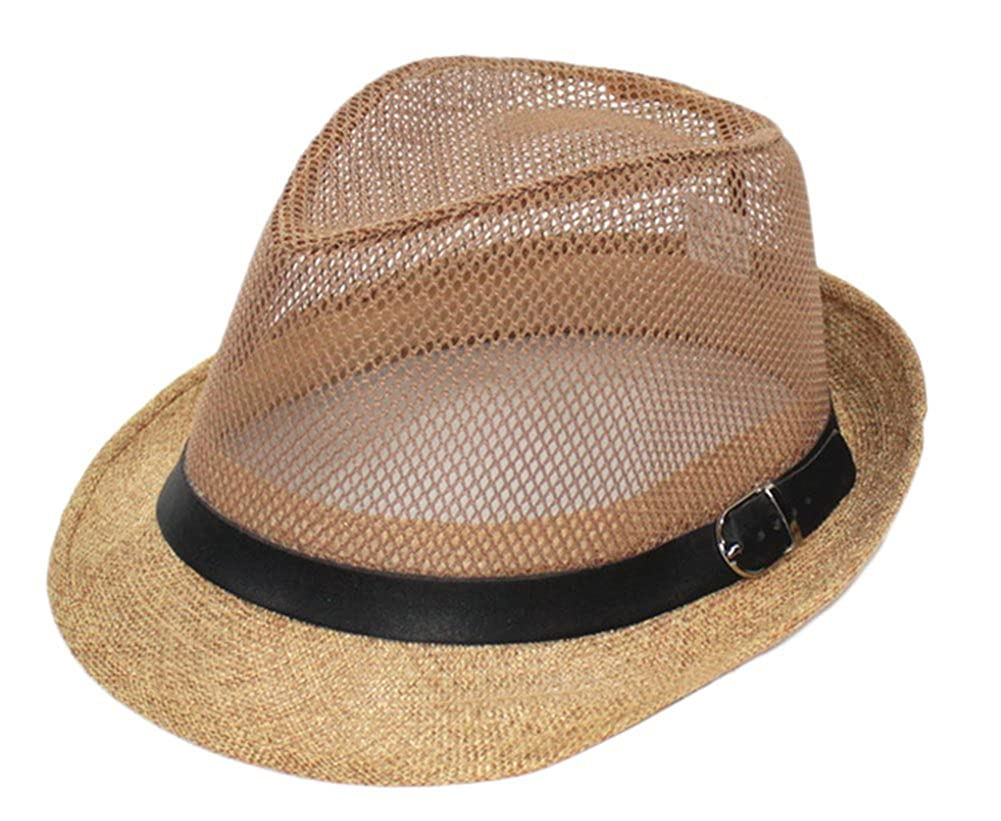 Leisial Unisex Straw Jazz Hat Summer Beach Sun Visor Cap Mesh Hollow Breathable(Grey) 438155541HTZGL103
