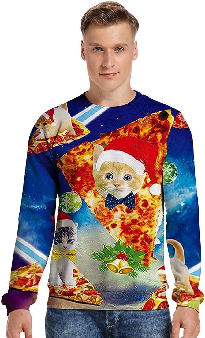 URVIP Unisex 3D Printed Realistic Casual Galaxy Christmas Pullover Sweatshirt