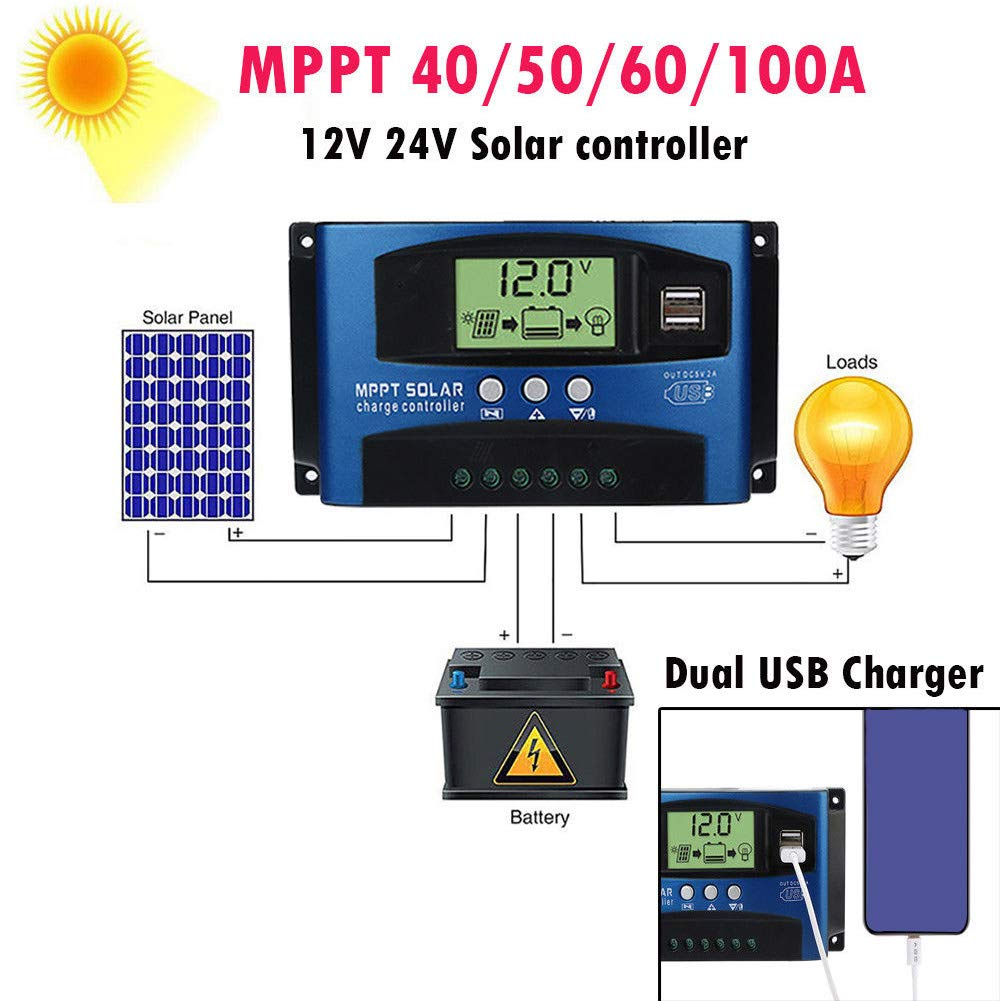 Solar Panel Controller Intelligent Regulator Auto Digital Timer LCD Display Dual USB Ouput Charging for iPhone Android Cellphones Solar Charge Controller 40A