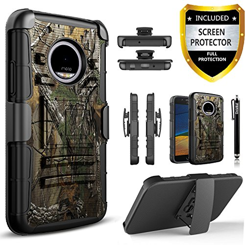 Moto E4 Case, [Not Fit Moto E4 Plus] Circlemalls [Combo Holster] Built-In Kickstand Bundled With [HD Screen Protector] Shock Proof And Stylus Pen For Motorola Moto E4 / Moto E 4th Generation (Camo)