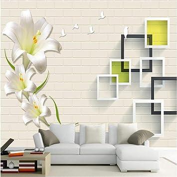 Amazon Com Pbldb Large Custom Wallpaper Wall Murals Modern Simple Flowers Floral Frame Background Wall Wallpaper For Walls 3 D 280x200cm Furniture Decor