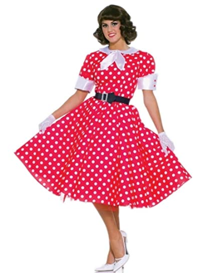 729acbb19e923 Image Unavailable. Image not available for. Color: Faerynicethings 50's  Housewife Costume - Red Dress with White Polka Dots fits up to Size 14