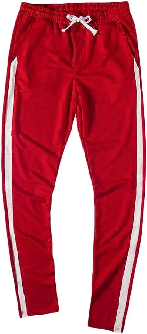 Sheng Xi Mens Stripe Pure Color Athletic Simple Joggers Pants