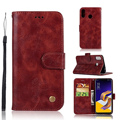Scheam Asus Zenfone 5Z ZS620KL Wallet Case, [Folio Style ] Premium Asus Zenfone 5Z ZS620KL Card Cases Stand Feature for Asus Zenfone 5Z ZS620KL [Wine Red ] Leather Cases Flip Cover with Leather Cases