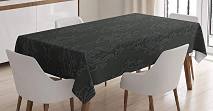 Ambesonne Dark Grey Tablecloth, Antique Damask Pattern In 3D Style Classic  Old Fashioned Floral Design