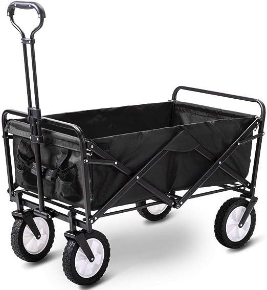 Famyfamy Plegable Camping Cart, Plegable Portátil Carro de Jardín Con 4 Ruedas, Carro de Jardín Tirar Carreta Mano Cart Exterior Utilidad Jardín Compras Carreta Carretilla Carro de Jardín Carrito Azul: Amazon.es: Jardín