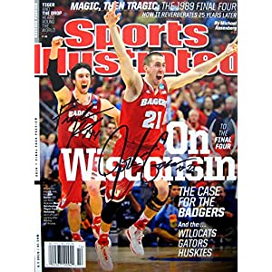 Frank Kaminsky & Josh Gasser Wisconsin Badgers Autographed Sports Illustrated magazine 4/7/14