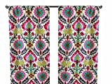 Pair of rod curtains 50'' wide panels waverly maria desert flower pink green turquoise yellow red window treatment nursery cotton drapes 84 96 108