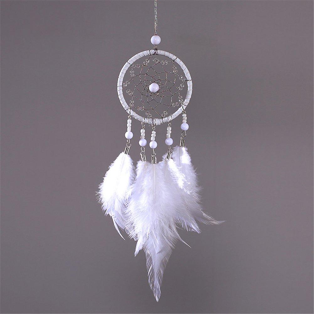 Yunt acchiappasogni rotonda netto con perla Home Wall Hanging decorazione White