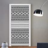 Gzhihine custom made 3d door stickers Ethnic Oriental Tribal Moroccan Round Style Lines Dots Geometric Shapes Artwork Image Black and White For Room Decor 30x79