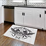 Water-Repellent Rugs Skull and Blooms Catholic Popular Ceremy Celebrating Artistic All Purpose High Density Non-Slip W35''xH23''