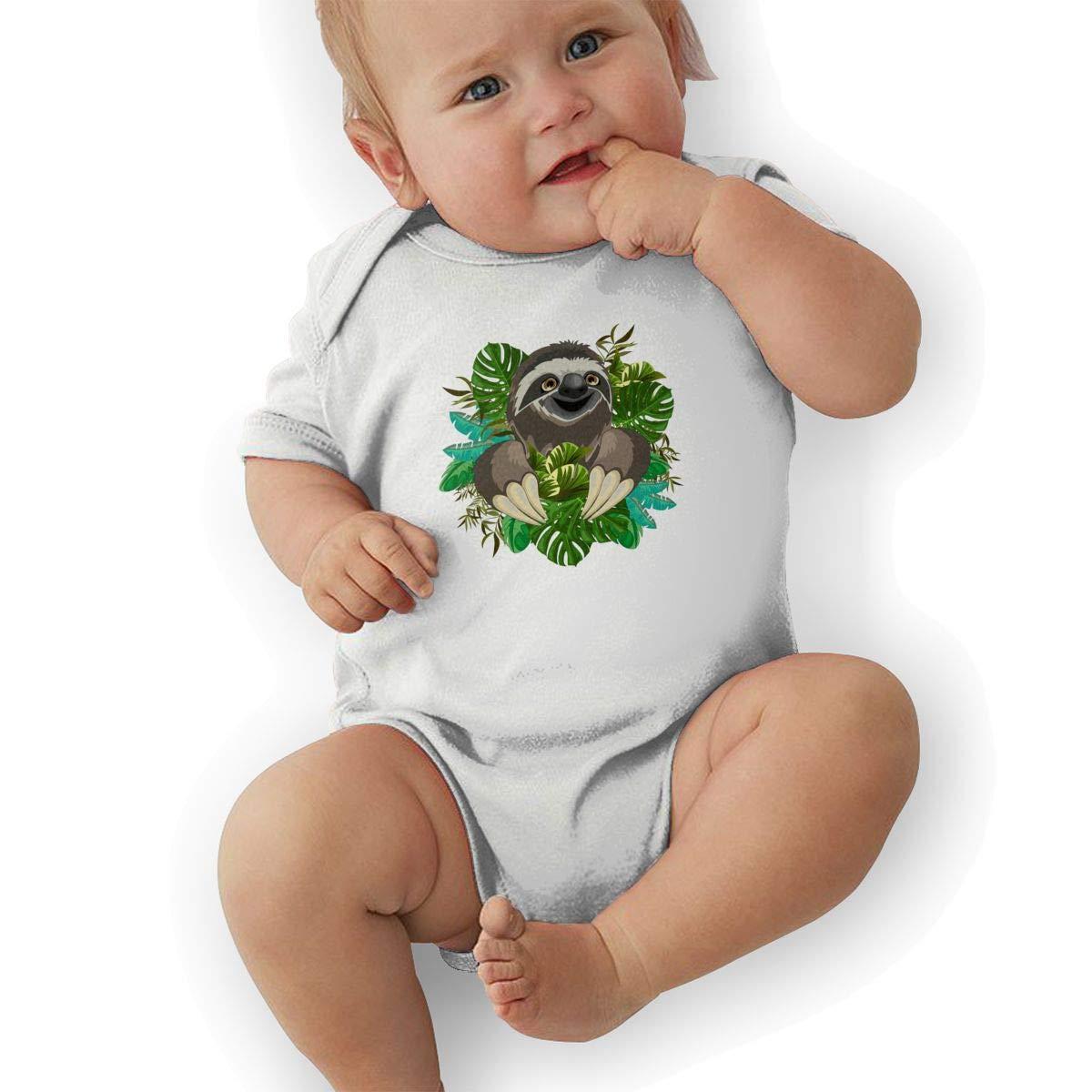 Newborn Baby Girls Bodysuit Short-Sleeve Onesie Sloth Love Tropical Leaves Print Rompers Winter Pajamas