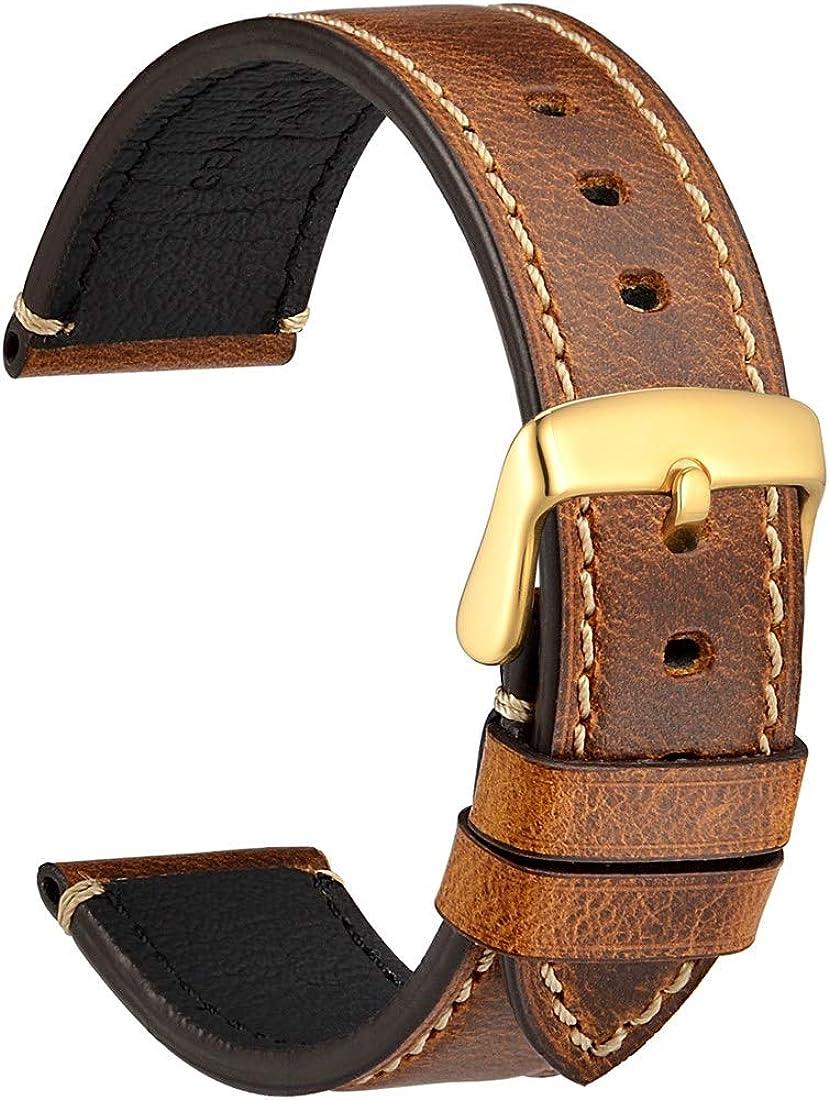 WOCCI Saddle Estilo Vintage Correas de Reloj de Cuero con Hebilla de Acero Inoxidable, Banda de Repuesto para Hombres, 18mm 20mm 22mm 24mm