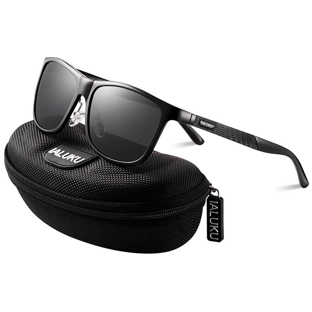 IALUKU Retro Driving Wayfarer Polarized Sunglasses for Men Metal Frame UV Protection (Black&Black, 61)