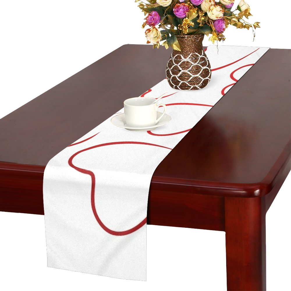MOVTBA Heart Love Valentines Day Together Greeting Card Polyester Table Runner 16x72 Inches,watercolor Painting Rectangle Table Cloth Placemat For Office Kitchen Dining Wedding Party Home Decor