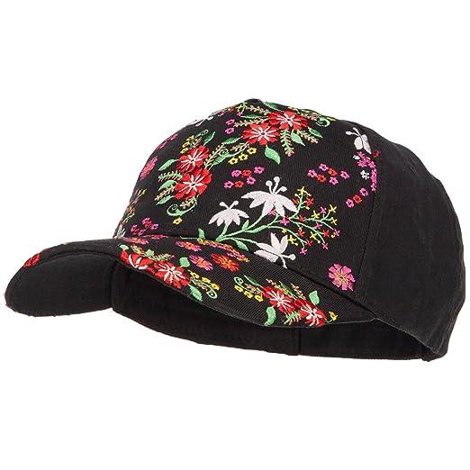296efac03 Floral Embroidered Design Baseball Cap - Black OSFM at Amazon ...