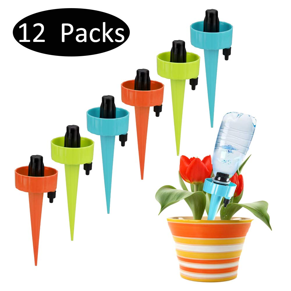 Self Watering Spikes,Plant Watering Devices,Plant Waterer Automatic Irrigation Spikes System with Slow Release Control,Automatic Plant Irrigation System for Potted Plants,Suitable for All Bottles(12)