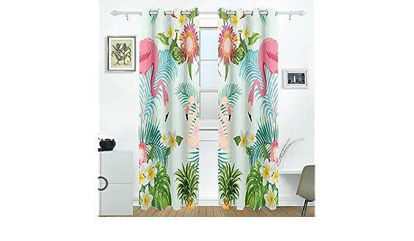 JSTEL - Cortinas con diseño de flores trópicas y hojas de flamenco ...