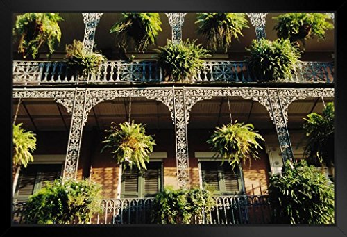 (French Quarter Balconies in New Orleans Photo Art Print Framed Poster 20x14 inch)