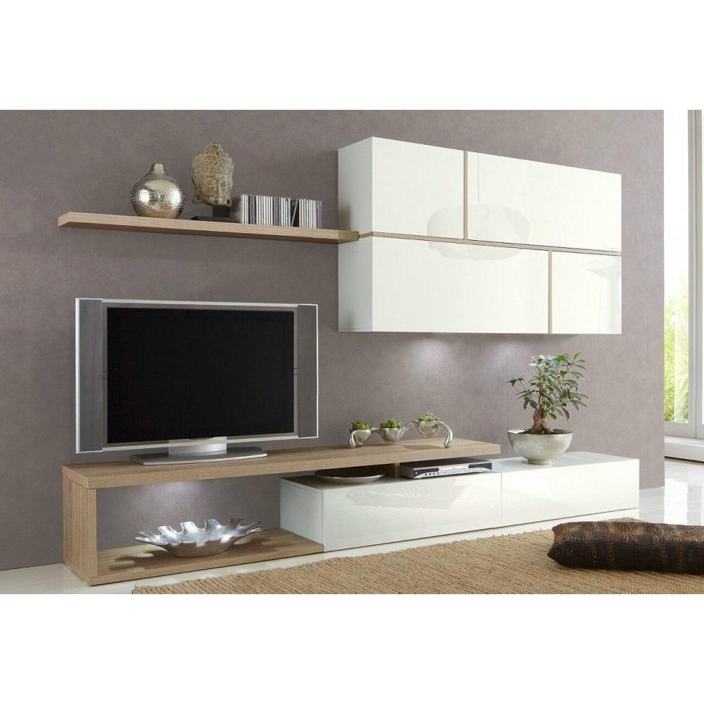 Composition Murale Tv Design Sword Blanche Et Ch Ne Sonoma Amazon  # Compo Murale Tv