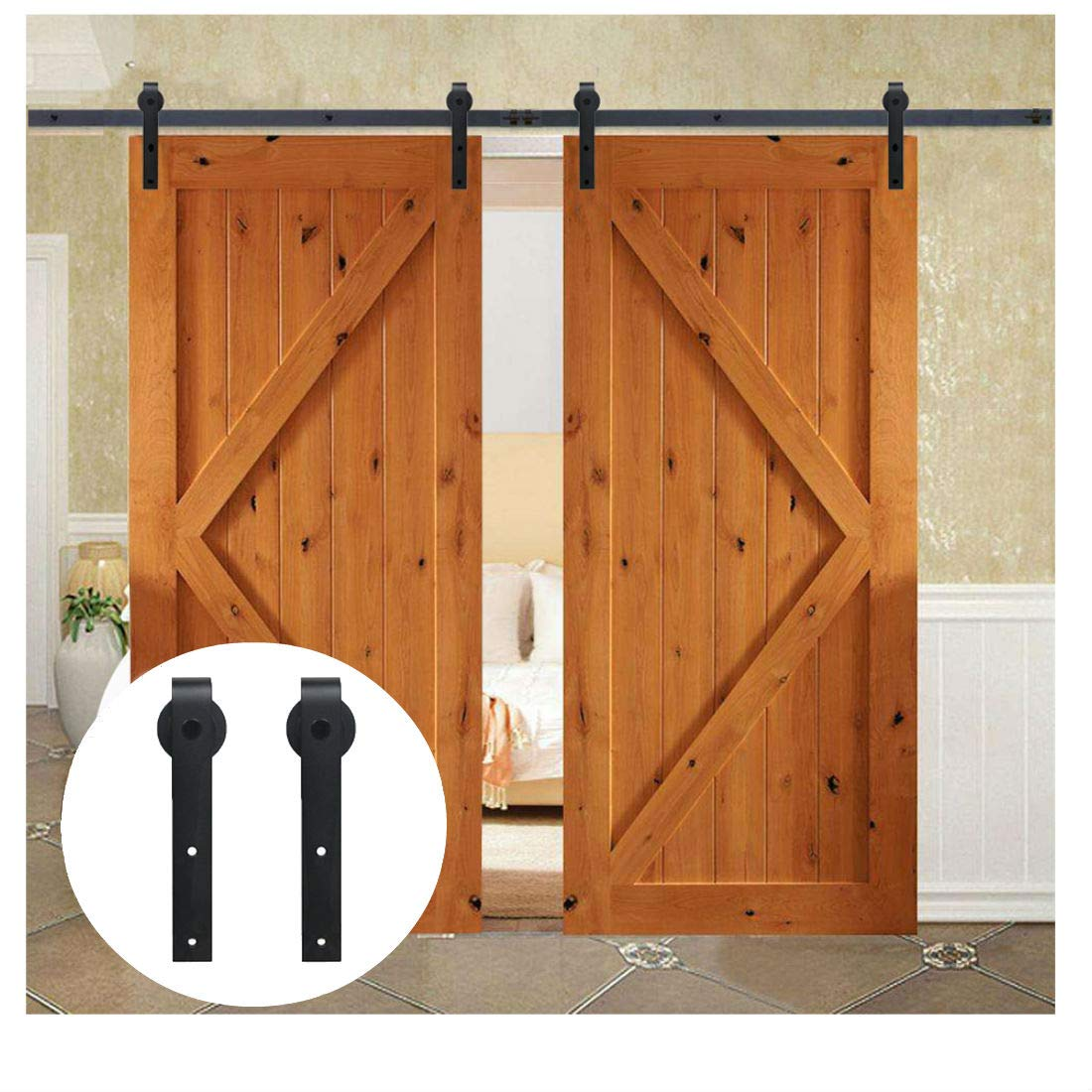 Amazon com: LWZH 9FT Double Sliding Barn Door Steel Hardware