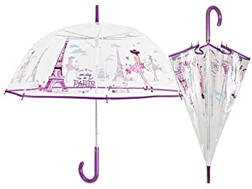 PERLETTI 25998 Lady 61/8 Aut Dome Forma PoE Transparente Impresiones París Paraguas Cortavientos