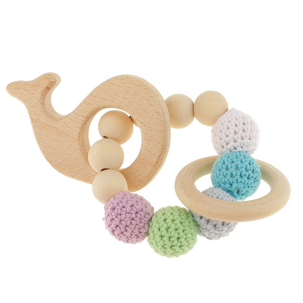 MagiDeal 1 Stk.Perle Beißringe aus Holz Säugling Rassel Spielzeug Baby Zahnen Zubehör - Mehrfarbig - Herz