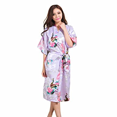 Kimono de Seda Vestido de Satén Kimono Pavo Real Novia Pijamas de Seda Bata de Satén