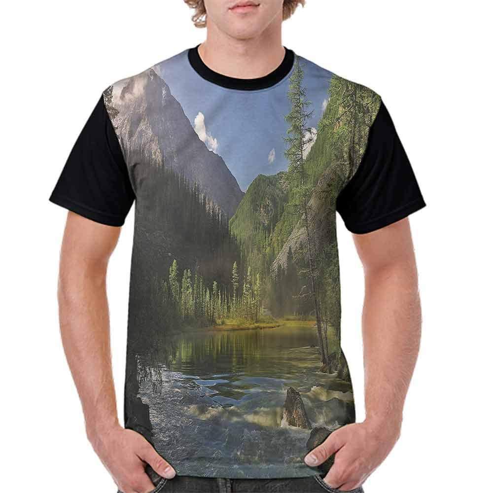 Loose T Shirt,Alpine Forest Morning Fashion Personality Customization